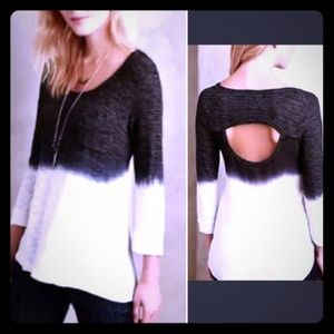 anthropologie language black and white ombre top